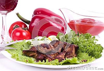 Appetizing weal kebab on skewers
