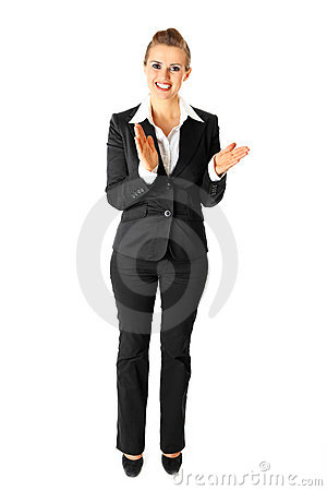 Applauding modern business woman isolated on white