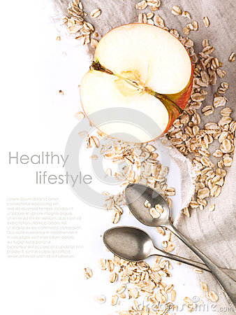 Free Apple And Oatmeal Over White Stock Photos - 29262323
