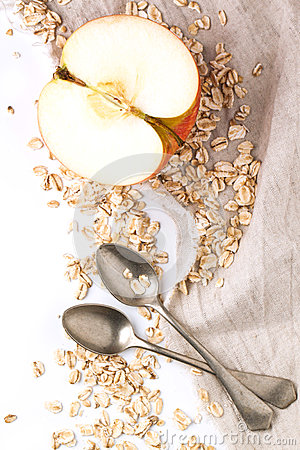 Free Apple And Oatmeal Over White Stock Photo - 29277920