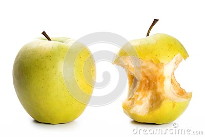 Apple and an apple core