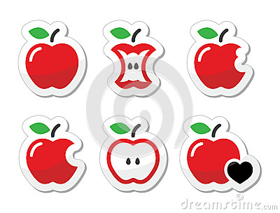 Apple, apple core, bitten, half  labels set