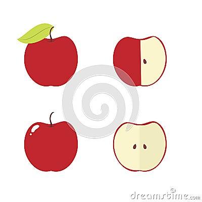 Apple, Apple Core, Bitten, Half Vector Icons Stock Vector ...