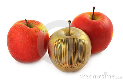Apple with bar code