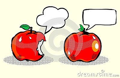 Apple with bubble speech / Fruit in pop art