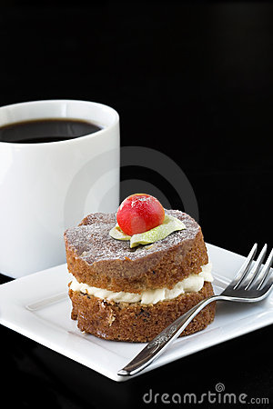 Apple cake with coffee