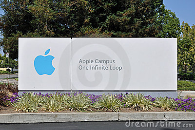 Apple Campus One Infinite Loop Sign Editorial Photo