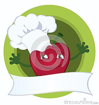 Apple-cartoon-character-with-promo-ribbon