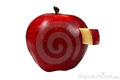 Apple with a carved rectangular part