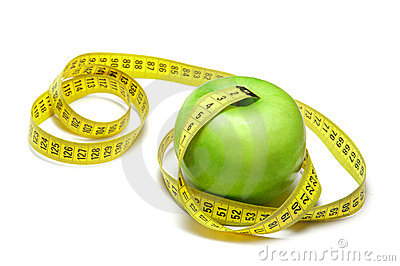 Apple with centimeter tape