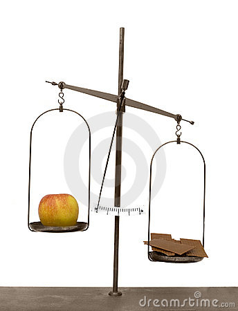 Apple and chocolate on scales