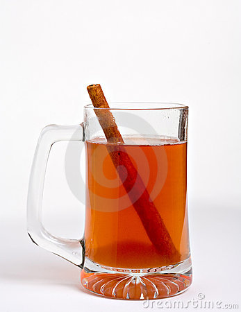 Apple cider with cinnamon stick