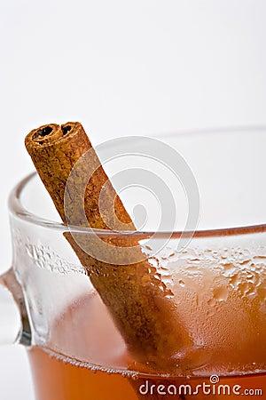 Apple cider with cinnamon stick