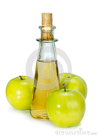 Free Apple Cider Vinegar In A Glass Vessel And Green Apples Stock Image - 77980561