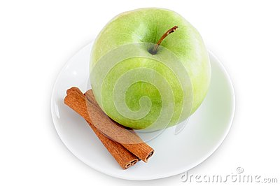 Apple and cinnamon on a plate