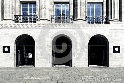 Apple computer store facade Berlin Editorial Stock Photo