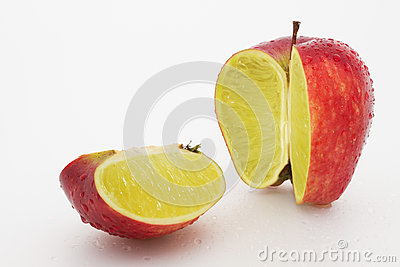Apple containing a lemon
