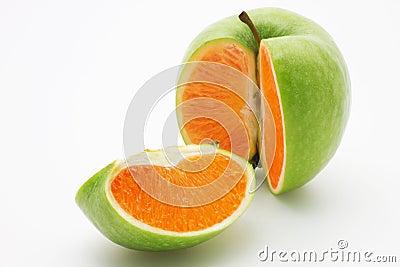 Apple containing an orange