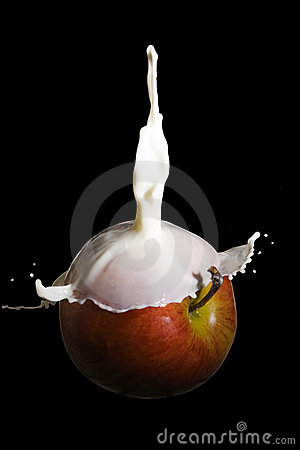 Apple covered with milk
