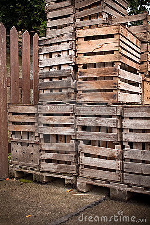 Apple crates stacked up