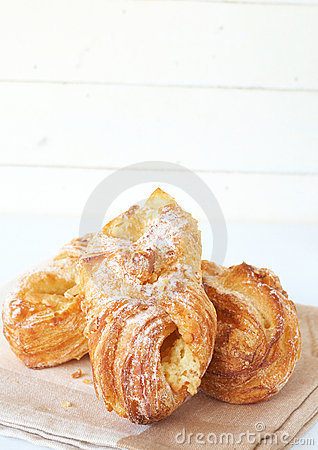 Apple custard filled croissants