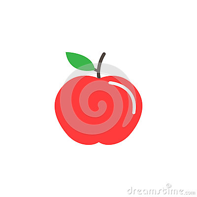 Apple flat icon, food and diet element, healthy Vector Illustration