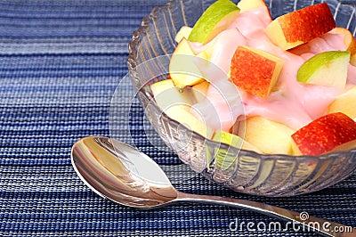 Apple fruit with yogurt