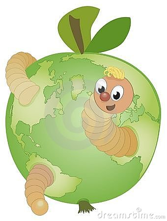 An apple globe with a funny cartoon worm inside