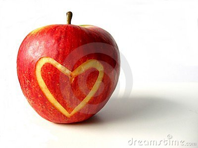 Apple with heart Stock Photo