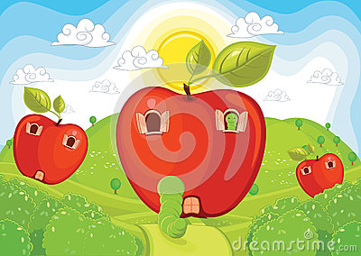Apple home vector illustration