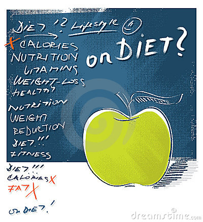 Apple icon - diet concept, freehand lettering