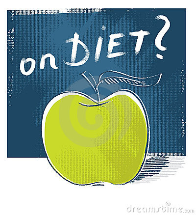 Apple icon - on diet (freehand drawing)