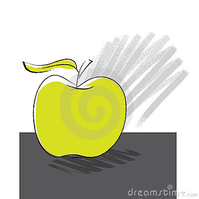 Apple icon, freehand drawing