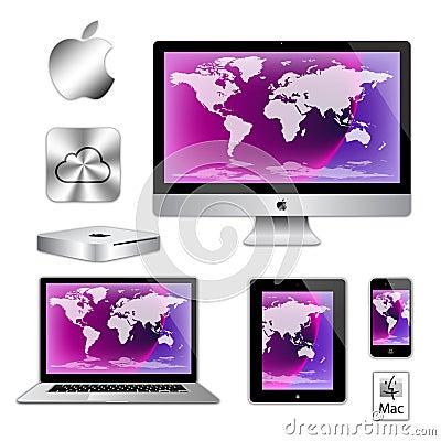 Apple imac iphone ipad macbook computers Editorial Stock Image