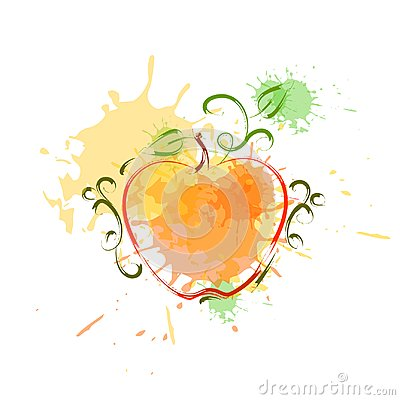 Free Apple In Watercolor Fruit Icon Paint Splash Background Hand Drawn Banner Royalty Free Stock Images - 101386589
