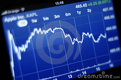 Apple Inc stock graph on iPhone smartphone Editorial Photography
