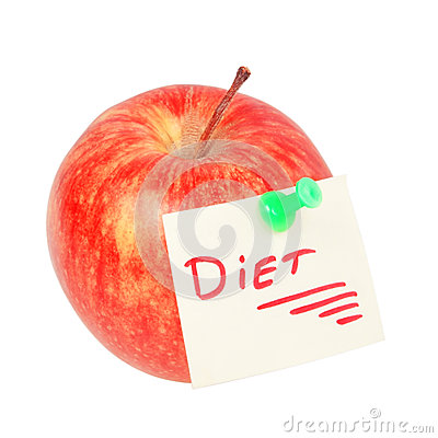 Apple with the inscription - the diet.