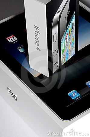Apple Ipad and Iphone 4 Boxes - Closeup Editorial Stock Image