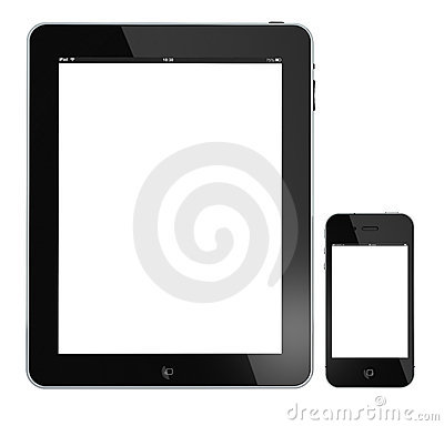 Apple iPad and iphone 4s isolated on white Editorial Photo