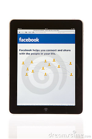 Apple ipad tablet PC with facebook Editorial Stock Photo