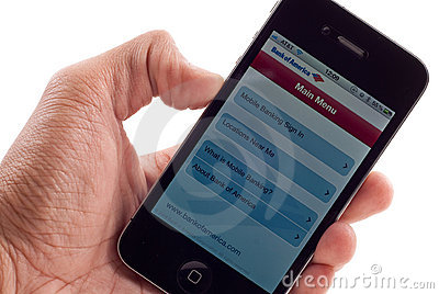 Apple IPhone 4 Banking Application Stock Photography - Image: 17340572