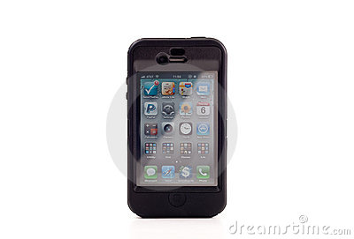 Apple iPhone 4 in Otterbox Editorial Stock Photo