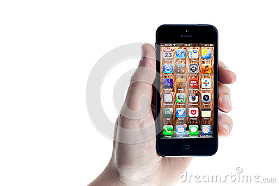 Apple iPhone 5 Held in the Hand on White Editorial Stock Photo