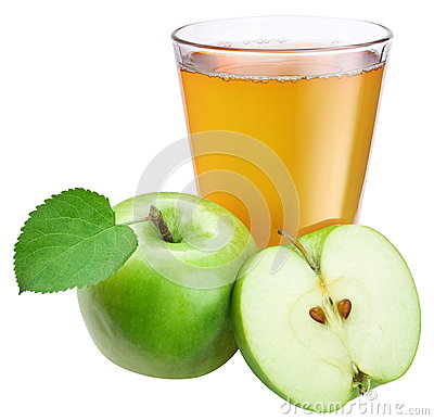 Apple juice with ripe apple