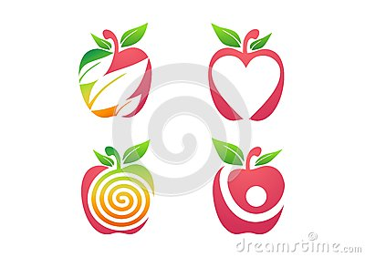 apple, logo, fresh, fruits apple, fruit nutrition health nature set icon symbol Vector Illustration