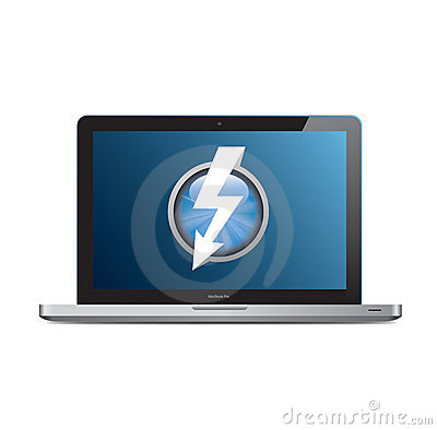Apple MacBook Pro with Thunderbolt logo on screen Editorial Photography