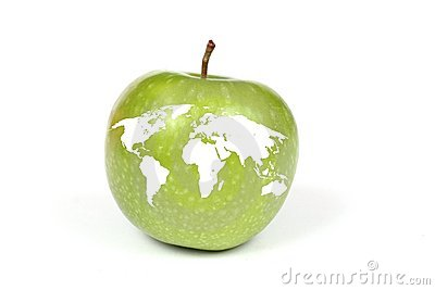 Apple with map of Earth