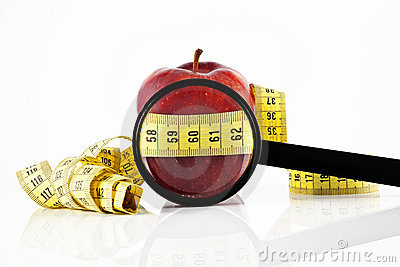 Apple meter and magnifying glass