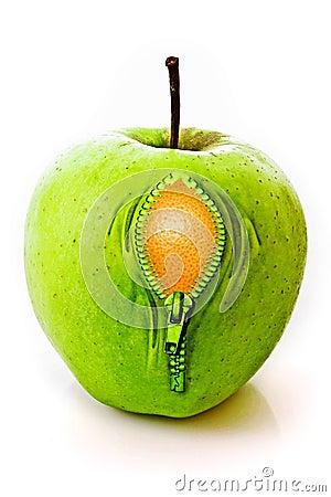 Apple mit Reißverschluss