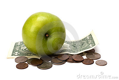 Apple and money   Health concept